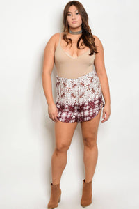 Plus size fashion multi print shorts