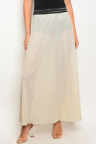 Ladies lining and sequin details sheer line maxi cut skirt