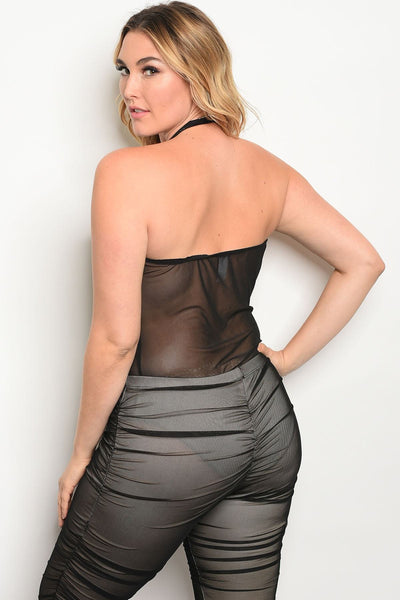 Plus size scoop neckline mesh unlined bodysuit