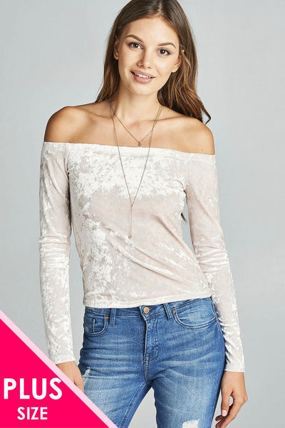 Plus size long sleeve off the shoulder ice velvet top