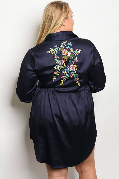 Plus size long sleeve stain skater dress with floral embroidery an a collard neckline