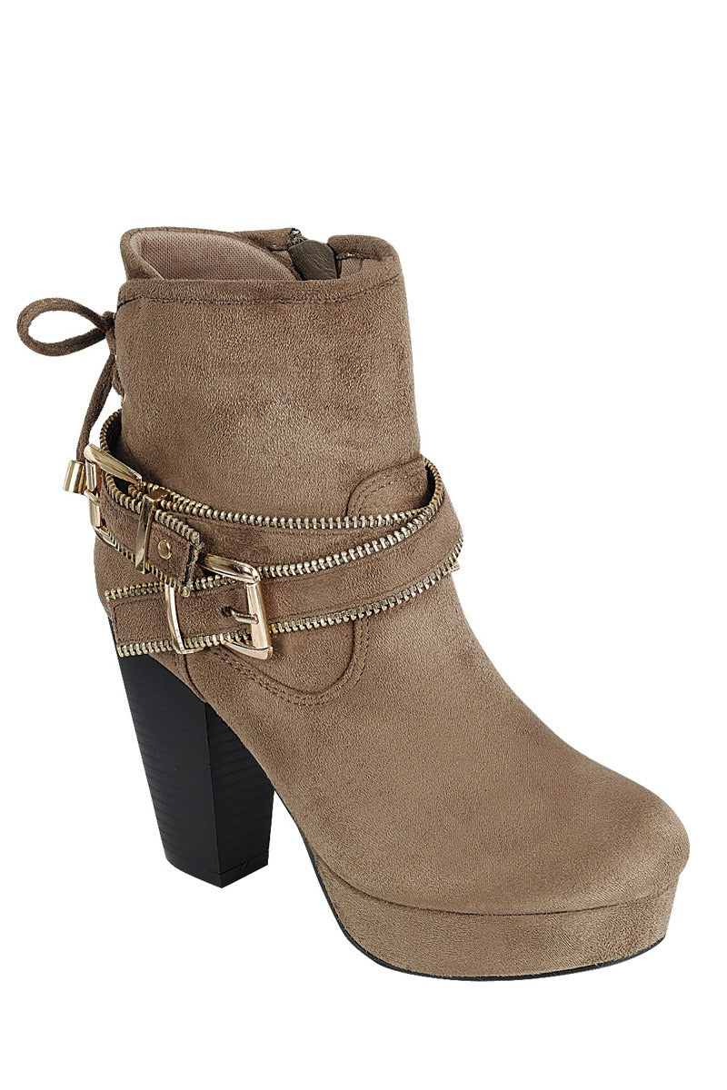 Ladies fashion ankle boot, closed almond toe, block heel, with zipper closure and buckle detail