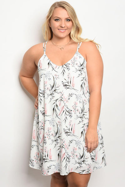 Plus size floral print slip style dress with a v neckline