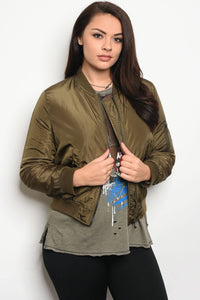 Ladies fashion plus size bomber jacket that hits just at the waist and features zipper closures