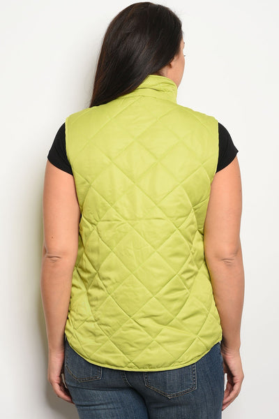 Ladies fashion plus size sleeveless puffer vest that features a mock neckline and zipper closure