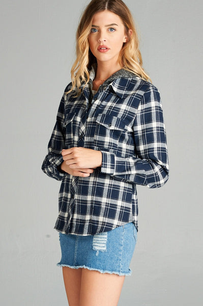 Ladies fashion plus size long sleeve two tone terry mixed hoodie plaid shirt