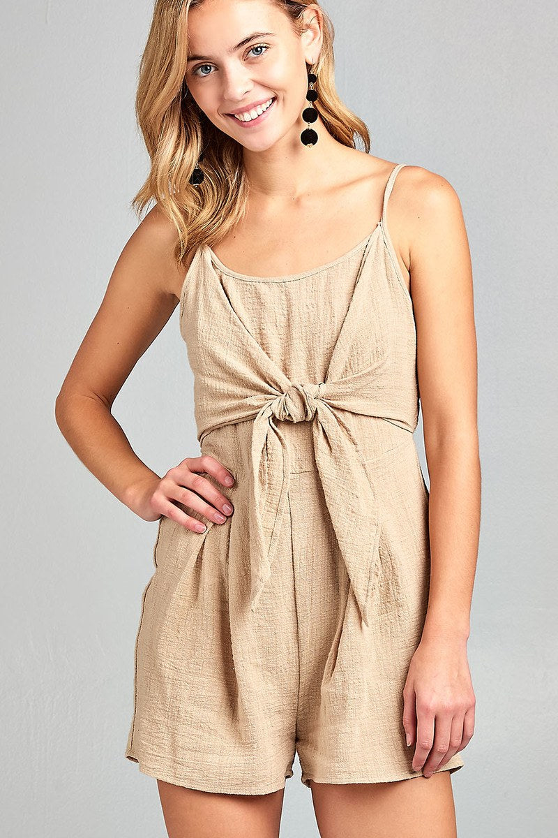 Ladies fashion sleeveless cami scoop neckline knotted with smocked back cotton slub romper