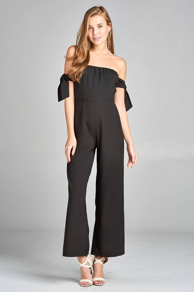 Ladies fashion tube line w/self bow tie sleeve woven jumpsuit