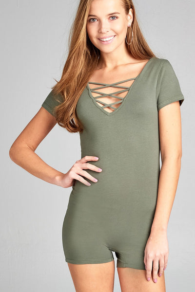 Ladies fashion short sleeve v-neck w/strappy strap cotton spandex bodycon romper
