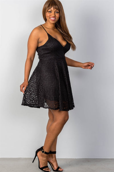 Ladies fashion plus size lace up back dress
