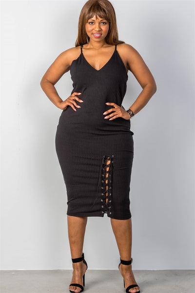 Ladies fashion plus size ribbed knit lace-up dress
