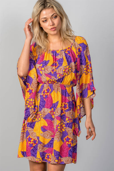 Ladies fashion multi floral bell sleeve dress