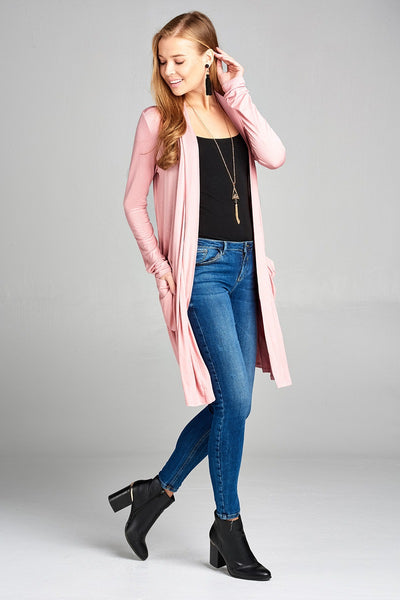 Ladies fashion plus size long sleeve open front w/pocket long length rayon spandex cardigan
