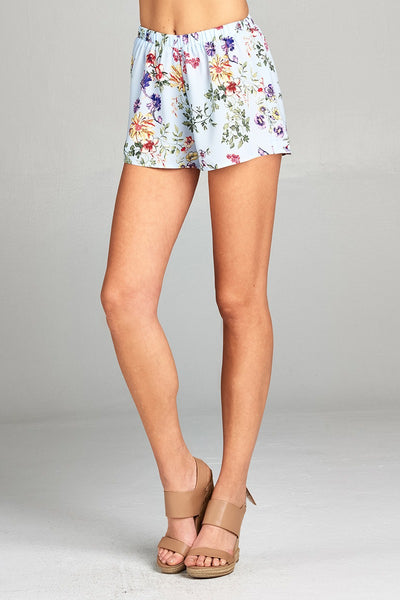 Ladies fashion plus size elastic waist floral print woven short pants