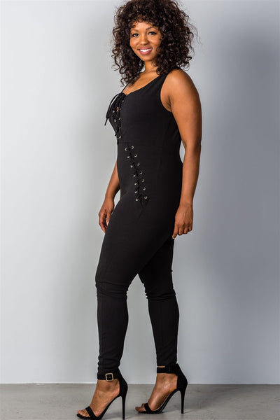Ladies fashion plus size lace-up jumpsuit