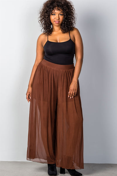 Ladies fashion plus size brown sheer elastic plus size pants