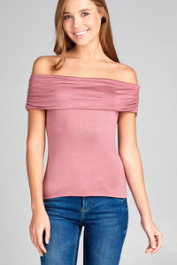 Ladies fashion fold over off the shoulder rayon spandex jersey top