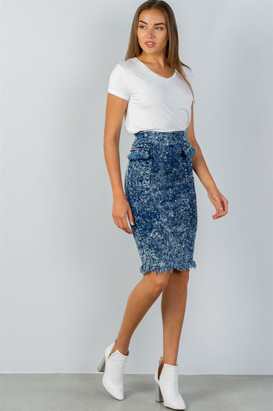 Ladies fashion acid wash frayed hem high waist pencil denim skirt