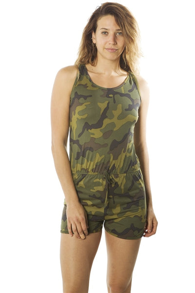 Ladies fashion camo-ladies racer back camouflage romper shorts