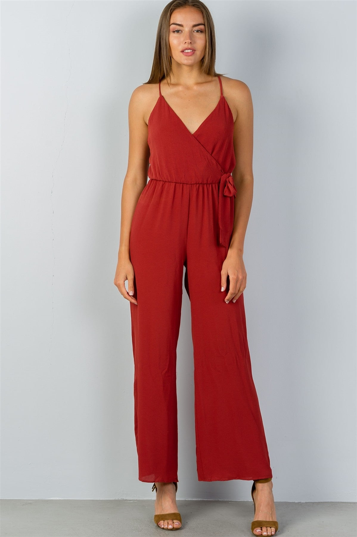 Ladies fashion terra cota faux wrap jersey jumpsuit