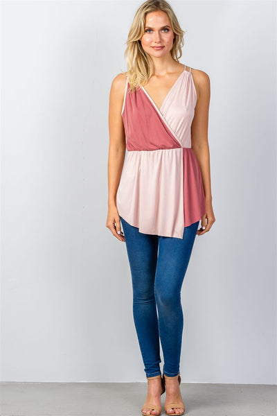 Ladies fashion pink color-block v-neck crossover top