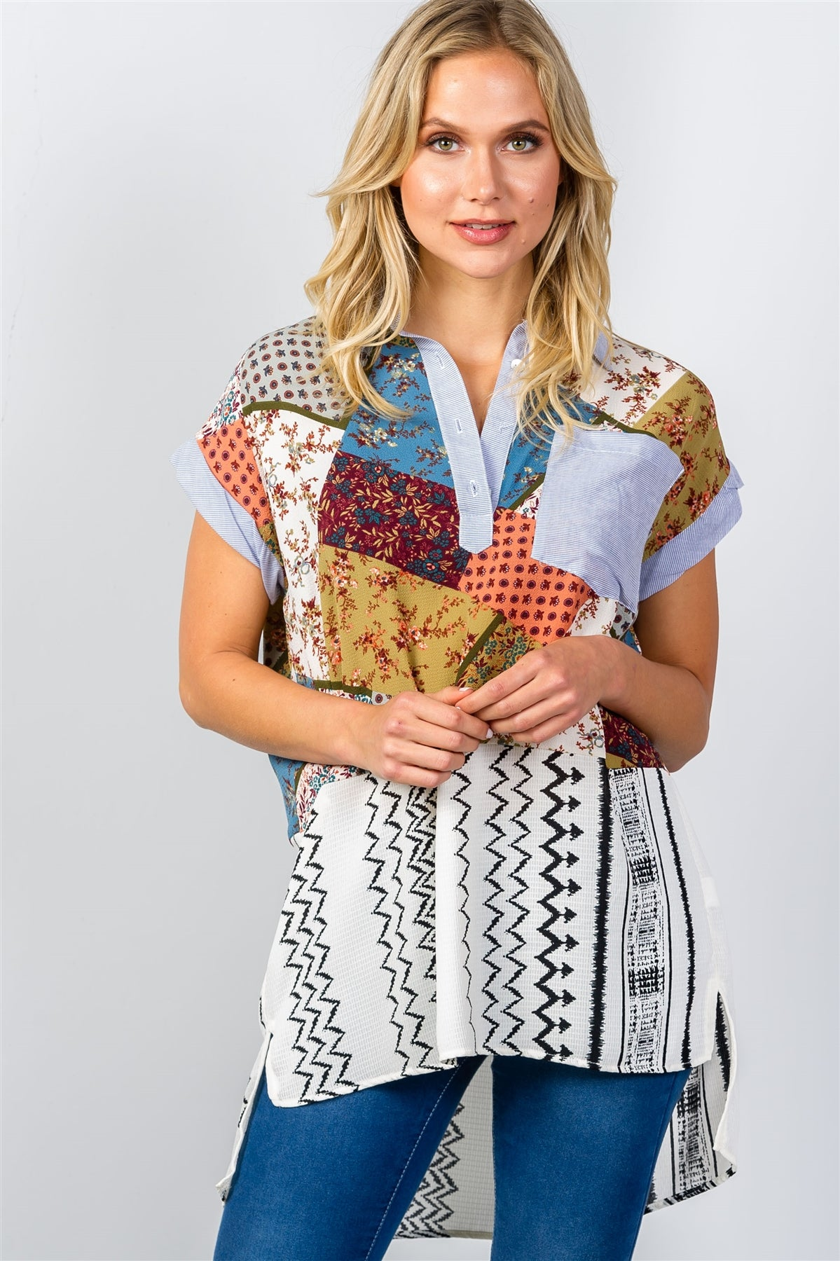 Ladies fashion boho multi patchwork short sleeve blouse