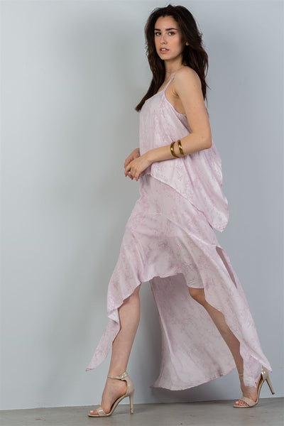 Ladies fashion mauve strappy-low back maxi dress