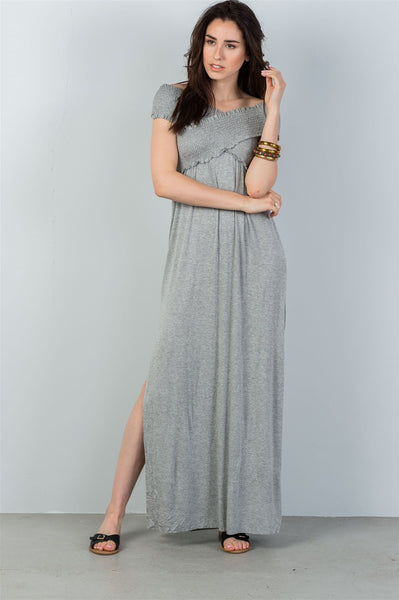 Ladies fashion grey off the shoulder shirred double side slits maxi dress