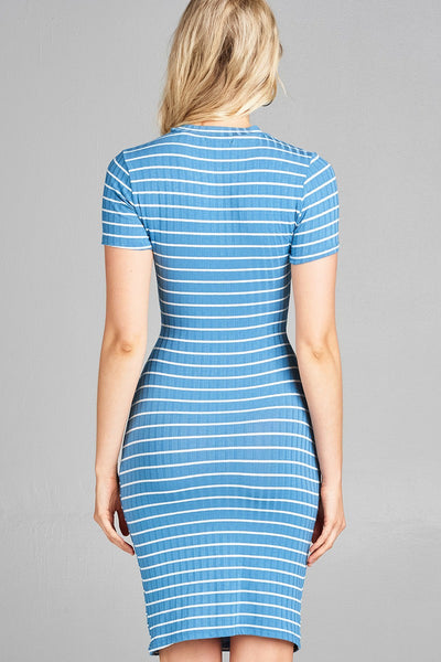 Ladies fashion short sleeve round neck front hold w/self tie stripe ribbed midi dress