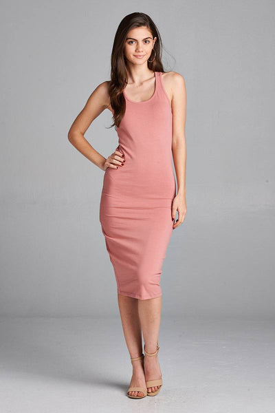 Ladies fashion sleeveless racerback midi dress