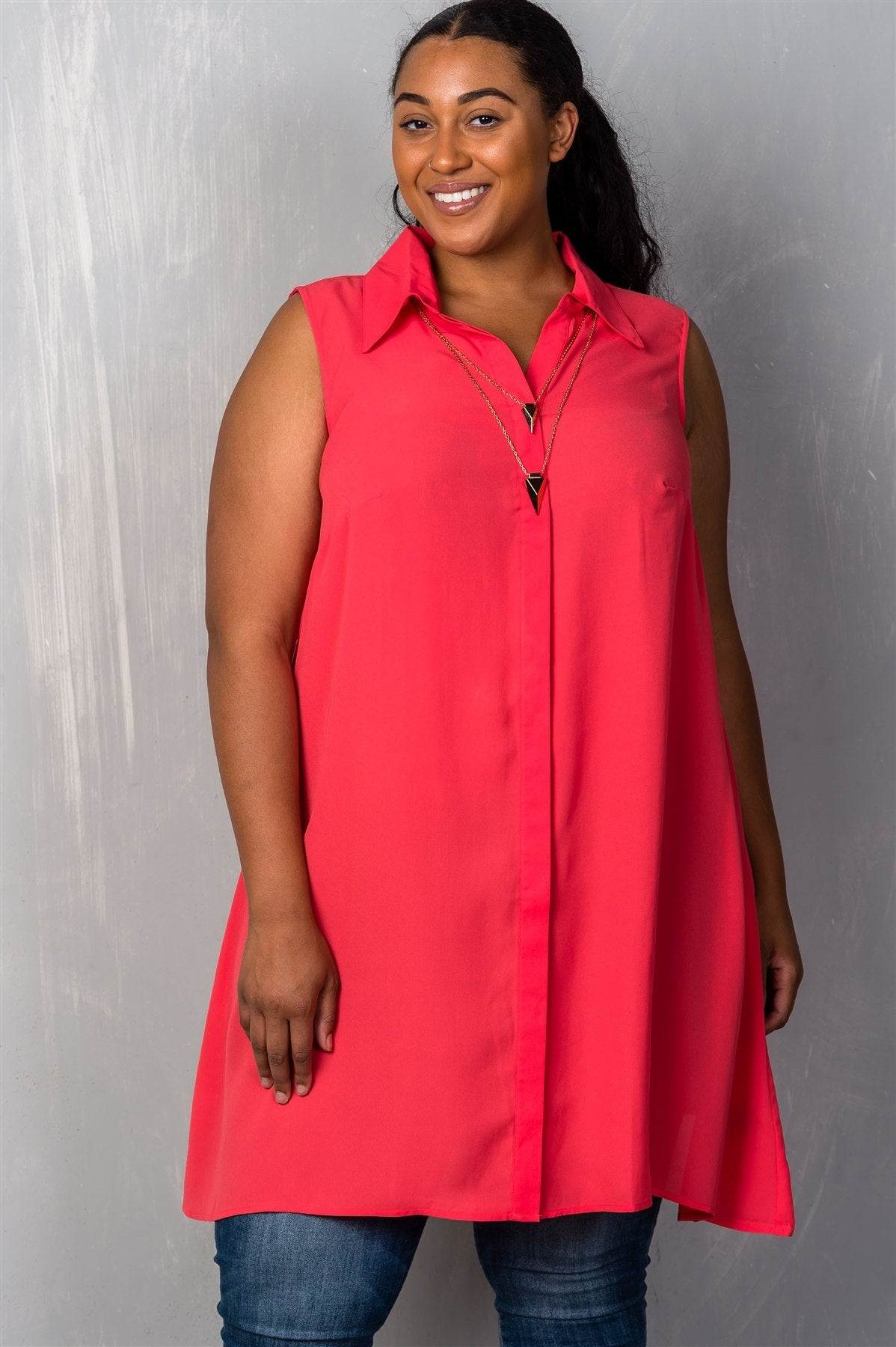 Ladies fashion plus size  hidden button down closure v neckline chic necklace included shirt collar.