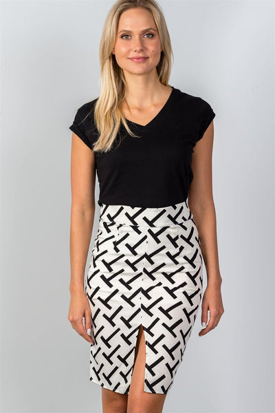 "Ladies fashion black & white ""t"" print double split pencil mini skirt"
