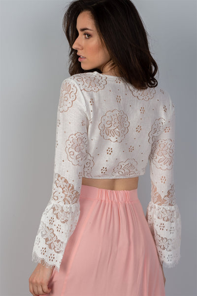 Ladies fashion boho white lace long bell sleeve crop top