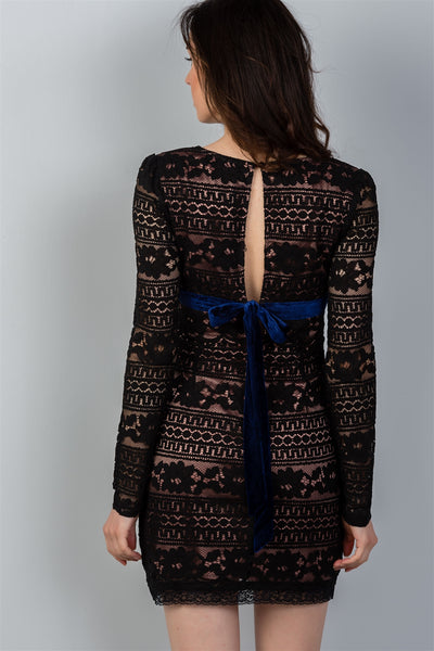 Ladies fashion black & navy velvet back-tie floral lace mini dress
