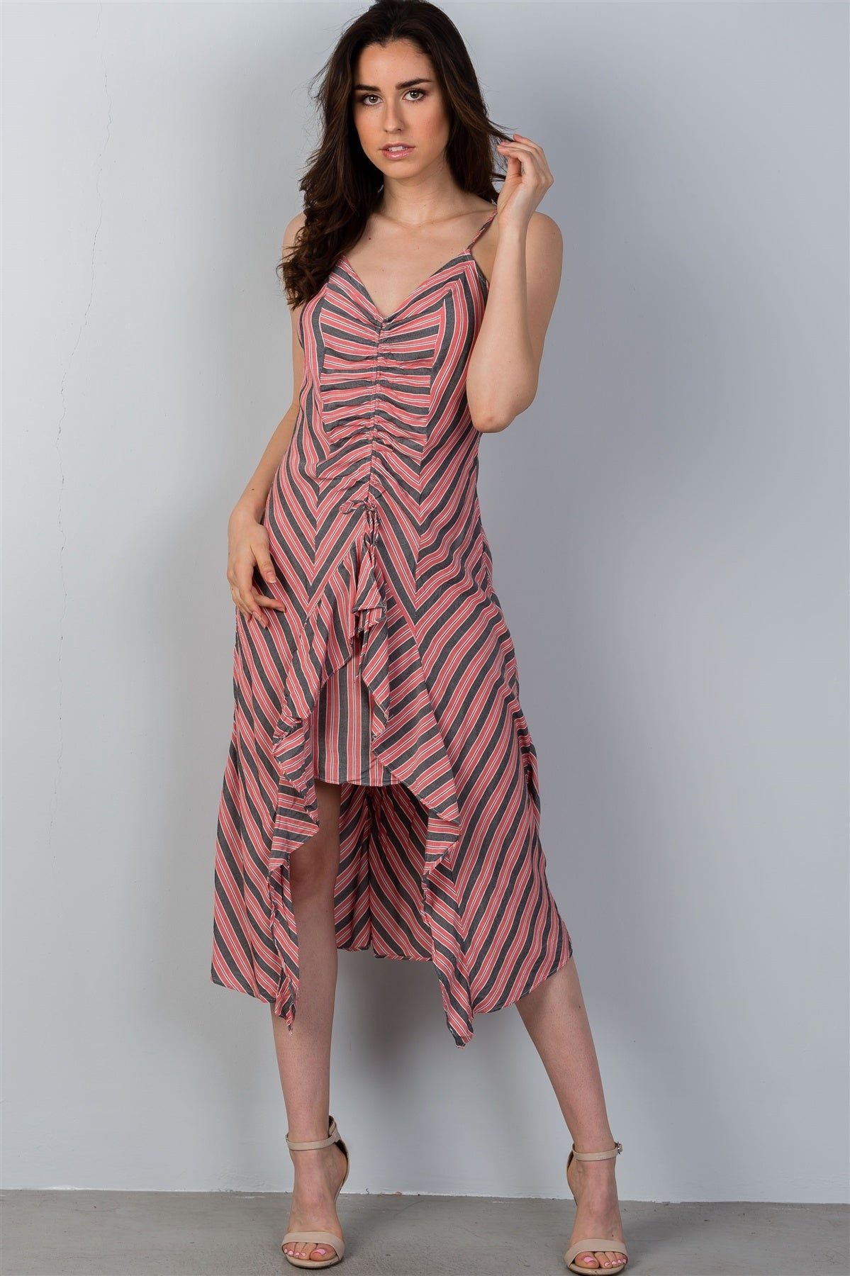 Ladies fashion high low design stripes asymmetrical ruched front midi dress