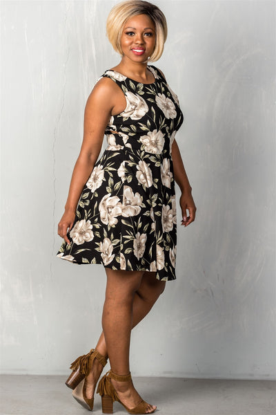 Ladies fashion plus size black & beige floral cross back plus size mini midi dress