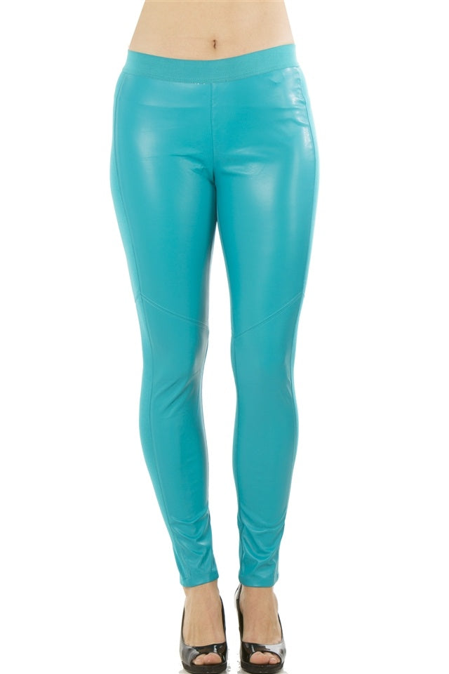 Ladies fashion stretch faux leather leggings