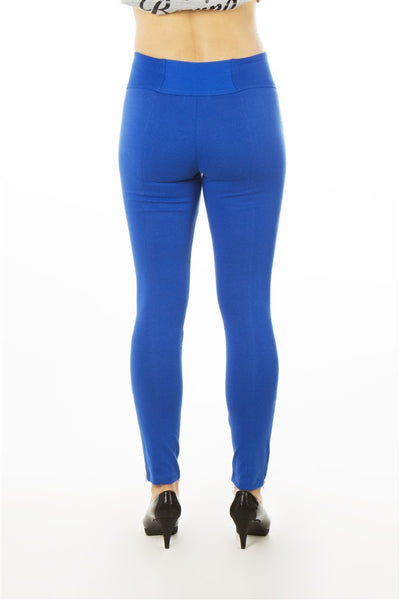 Ladies fashion stretch zipper cotton blend leggings