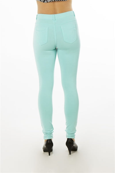 Ladies fashion button stretch cotton blend leggings