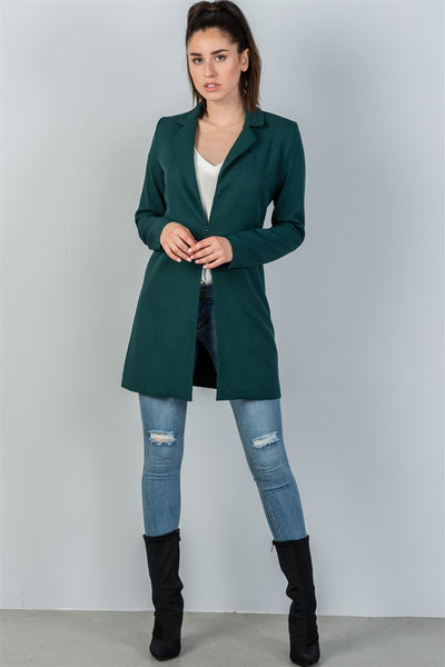 Ladies fashion oversize fit long sleeve open front blazer jacket
