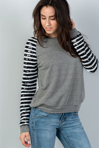 Ladies fashion round neckline sequin sleeved grey sweatshirt