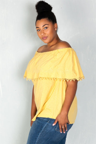 Ladies fashion plus size  boho mustard plus size geo-tribal embroidered off the shoulder top