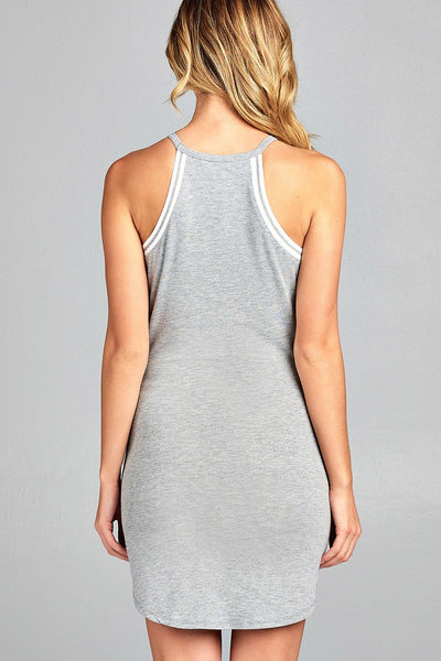 Ladies fashion halter neck w/contrast ribbed cotton rayon spandex mini dress