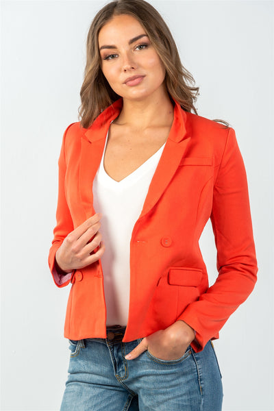 Ladies fashion  coral double button down classic solid blazer