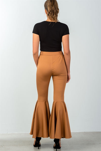 Ladies fashion mid rise flare bell bottom pants