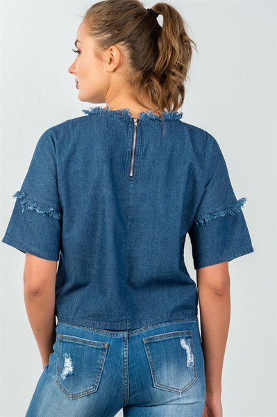 Ladies fashion loose fit shredded neckline & sleeves denim top