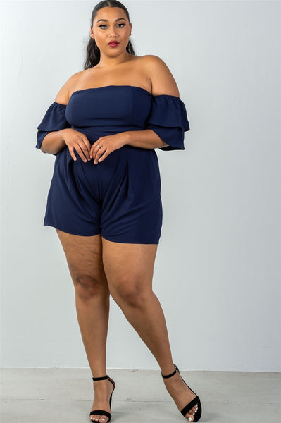 Ladies fashion plus size tiered ruffle  off the shoulder back cut out romper