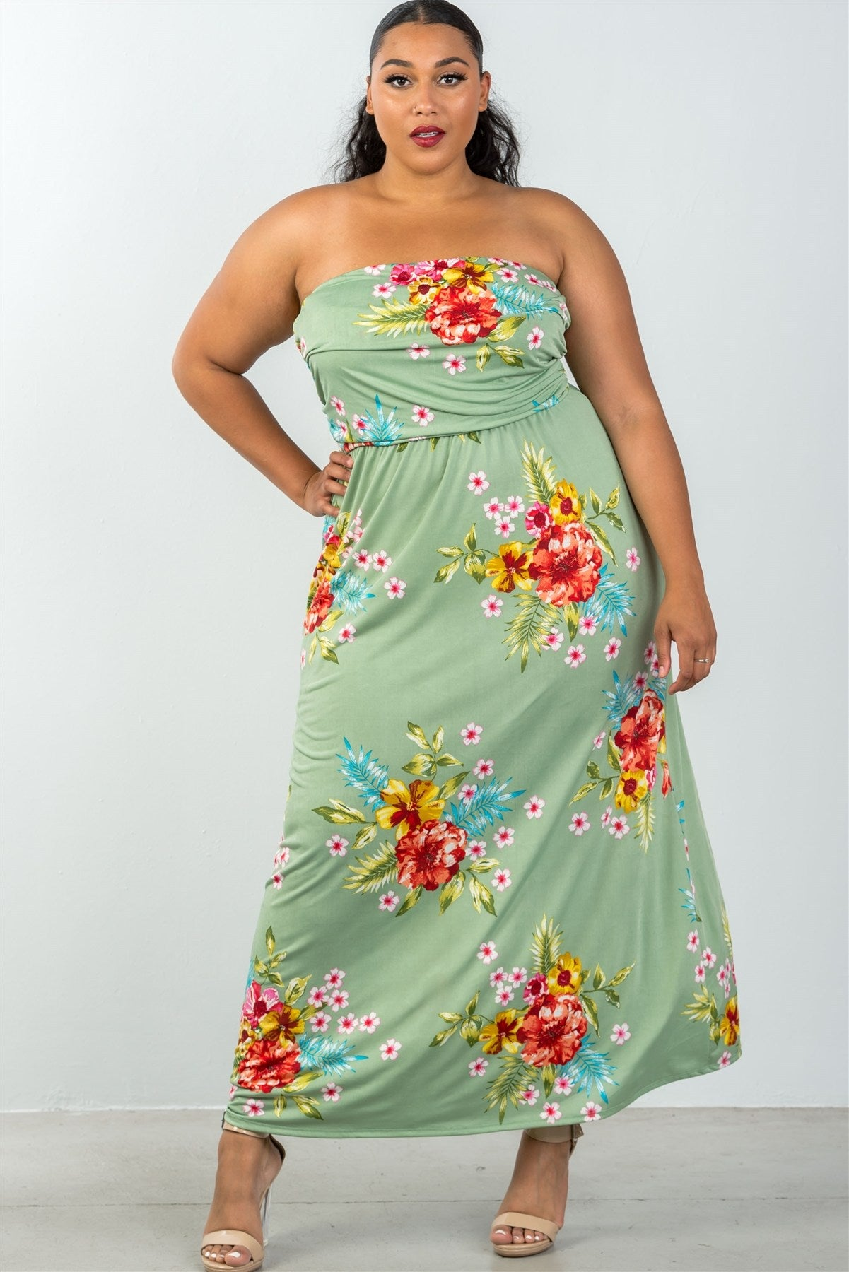 Ladies fashion plus size allover tropical floral print strapless maxi dress