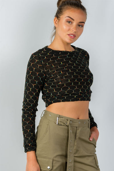 Ladies fashion round neckline hexagon print crop pullover