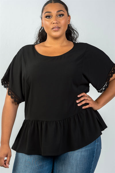 Ladies fashion plus size scoop neckline black crochet trim sleeves top